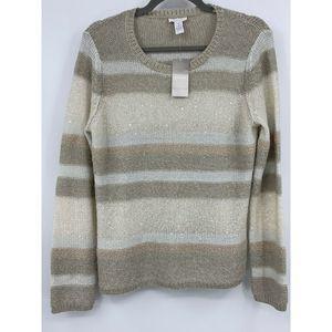 Chicos sweater pullover medium pearl stripe